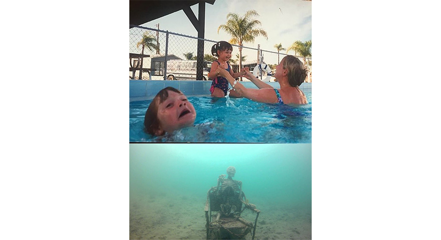 Kids And Mom In Swimming Pool + Underwater Skeleton Memes