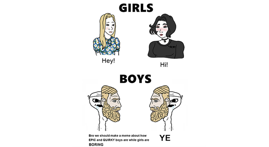 Boys vs. Girls Wojak Memes: Doomer Girl + Trad Girl vs. Chads