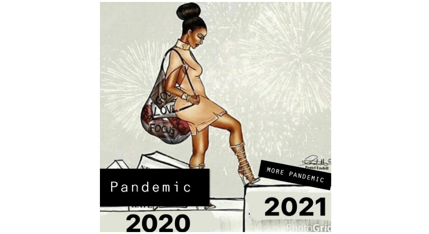 Woman Stepping Into The New Year 2021 Meme